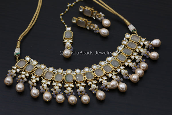 Carved Stones Real Pearl Kundan Set  - Gray