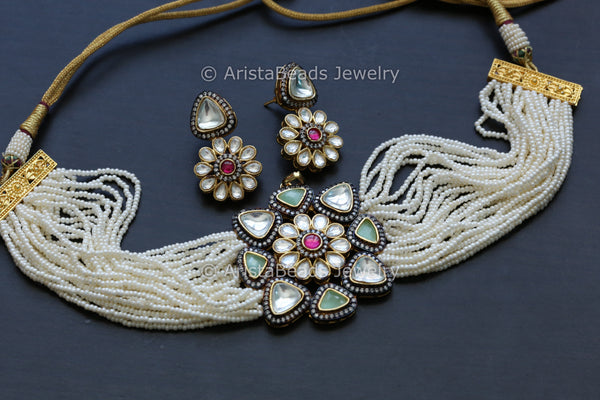 Contemporary Mint Green Kundan Necklace Set