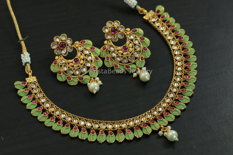 Enamel Polki Necklace Set
