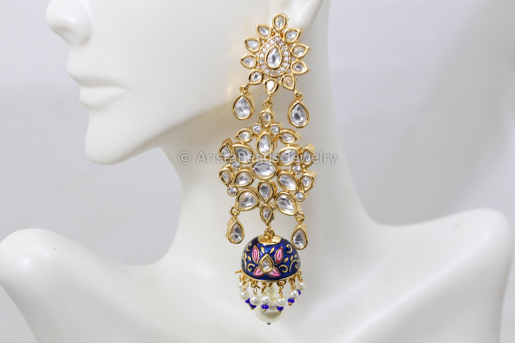 Premium Quality Long Kundan Jhumka - Blue