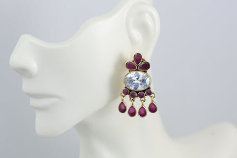 Cute Contemporary CZ Studs - Ruby