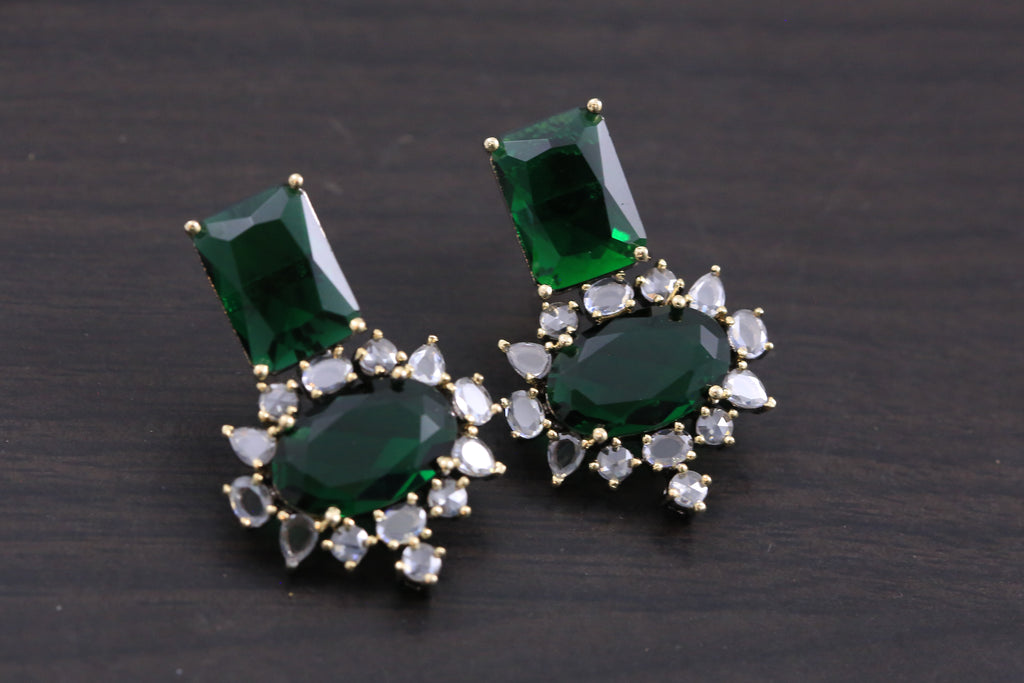 Small Contemporary CZ Earrings - Bottle Green