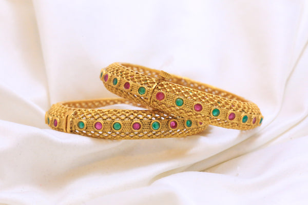 Antique Gram Gold Emerald Ruby Polki Bangle - AristaBeads Jewelry - 3