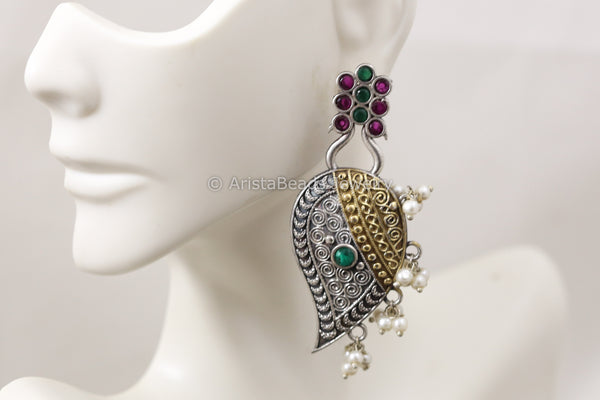 Dual Tone Paisley Earrings - Multicolor