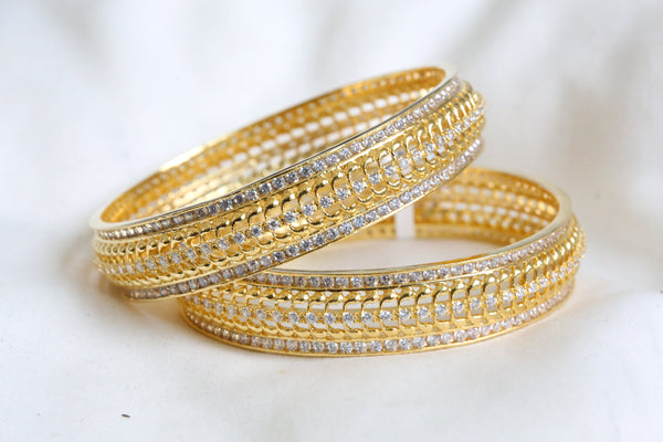 Clear Polki CZ Bangle (Set of 2)