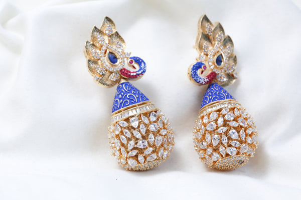 Blue Enamel CZ Peacock Earrings
