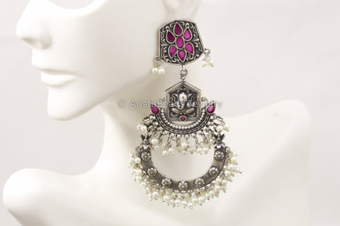 Long Silver Look Ganesha Earrings - Ruby