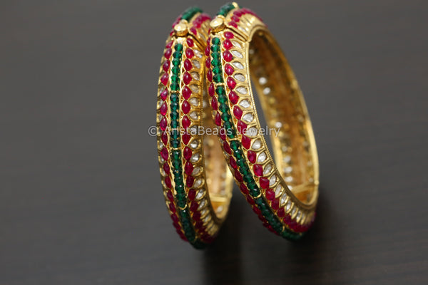 Kundan Polki Kemp Stones Bangle Set