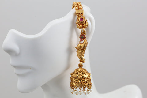 Nakshi Temple Jhumka With Ear Chain