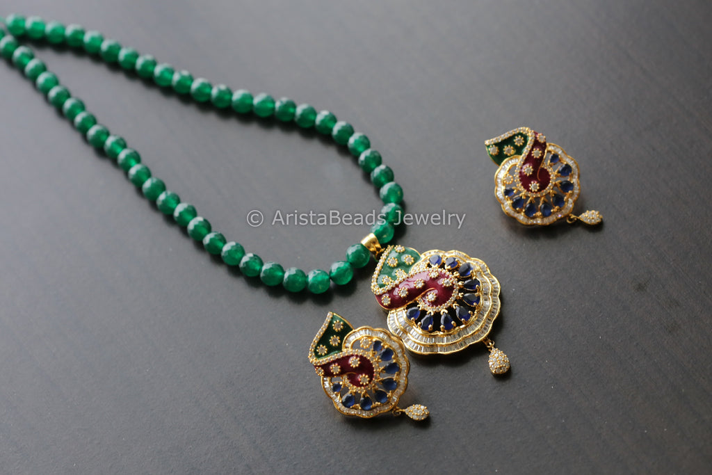 CZ Enamel Pendant Set - Blue Green