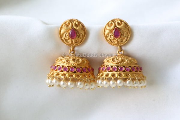 Antique Jhumka - Ruby