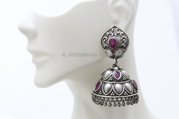 Ruby Tribal Silver Plated Jhumka