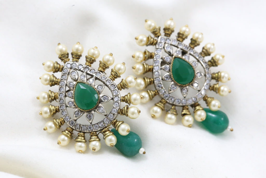 Emerald Victorian Pearl Earrings