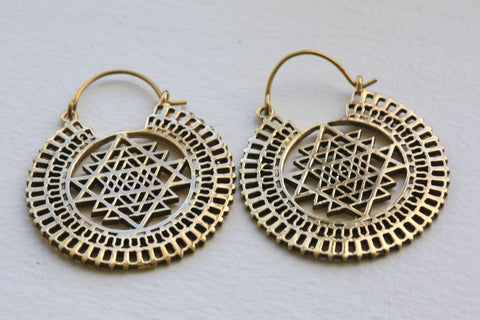 Shri Yantra Brass Tribal Earrings - AristaBeads Jewelry - 1