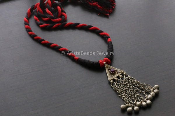 Vintage Tribal Necklace - Red Black Tassel