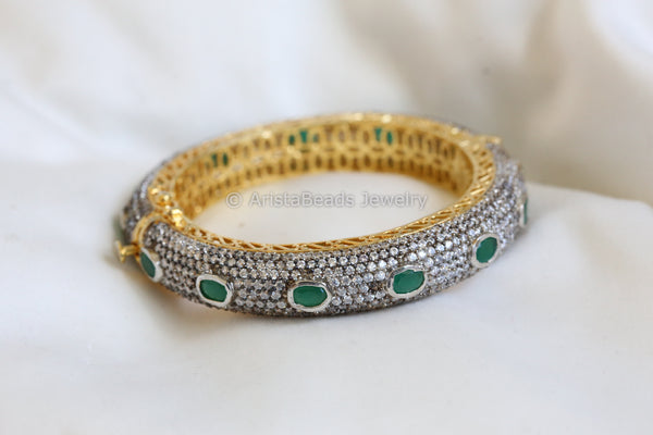 Contemporary CZ Polki Victorian Bangle