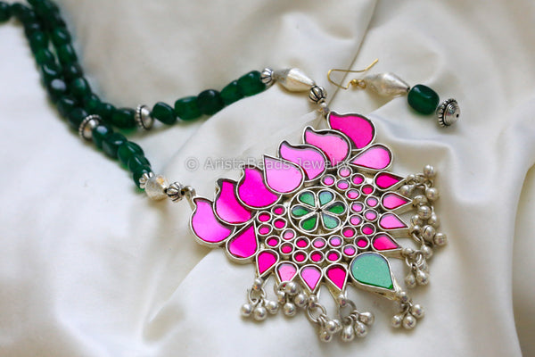 Magenta Green Glass Lotus Necklace