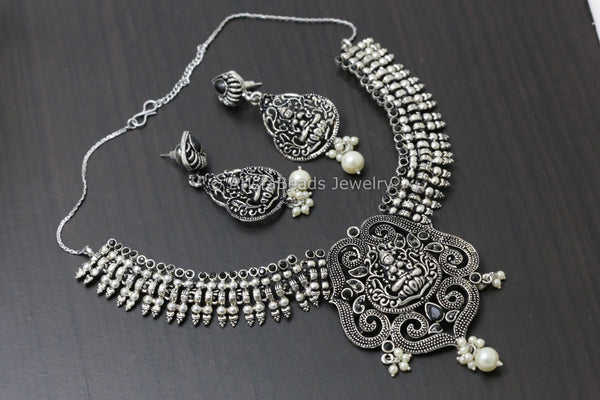 Oxidized Black Lakshmi Necklace