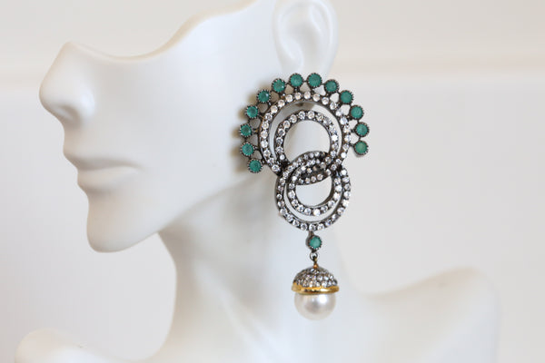 Designer Emerald  CZ Victorian Earrings