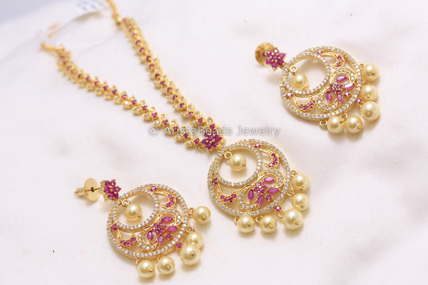 Uncut Polki Necklace with Chandbaali Earrings