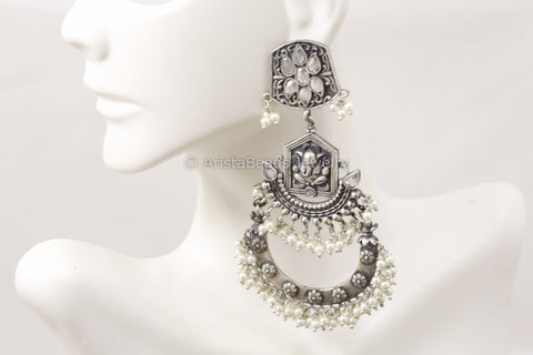 Long Silver Look Ganesha Earrings - Clear