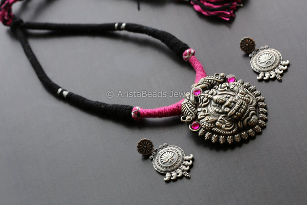 Lakshmi Pink & Black Thread Necklace