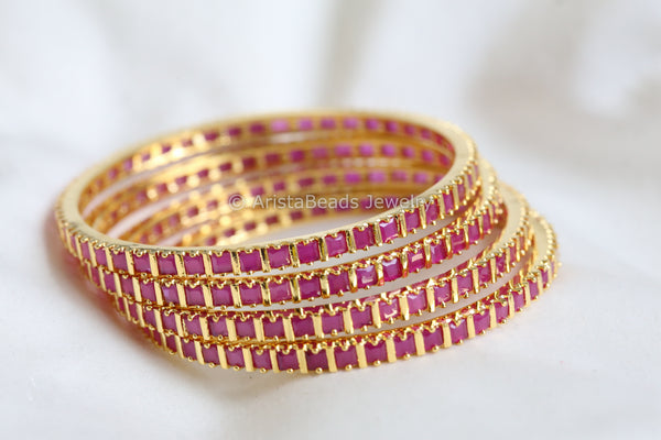Uncut Ruby Bangle Set (Set of 4)