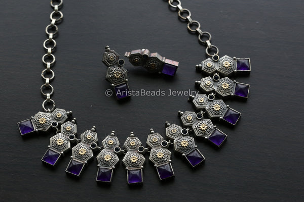 Dual Tone Purple Quartz Necklace Set