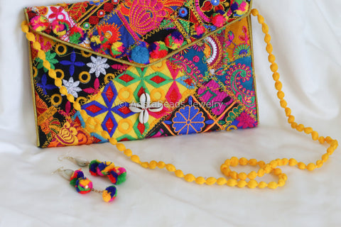 Banjara Clutch Bag with Matching Earrings - Yellow