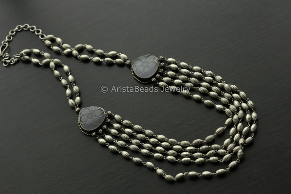 Gray Carved Stone Layered Necklace