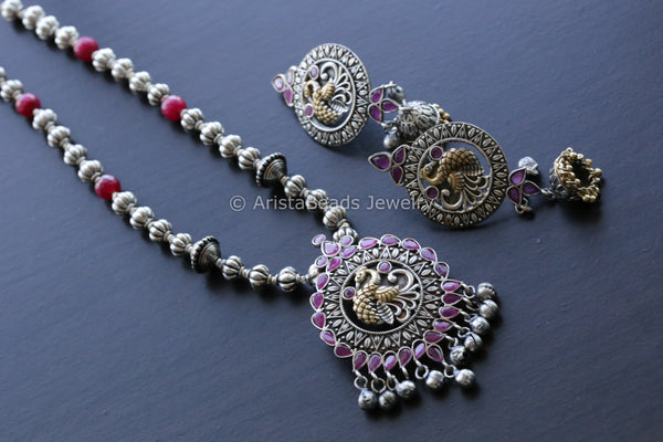 Dual Tone Ruby Necklace