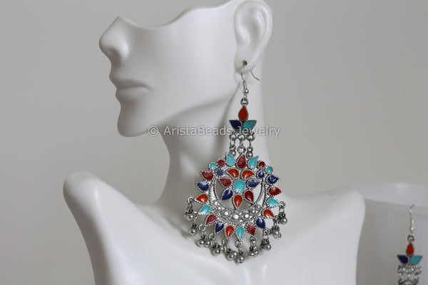 Long Enamel Tribal  Earring - Multicolor