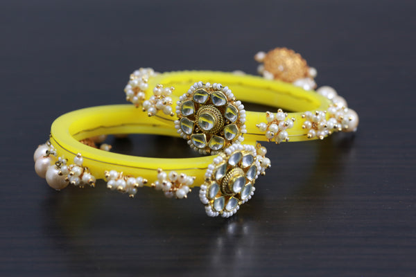 Yellow Kundan Jhumka Bangle Set