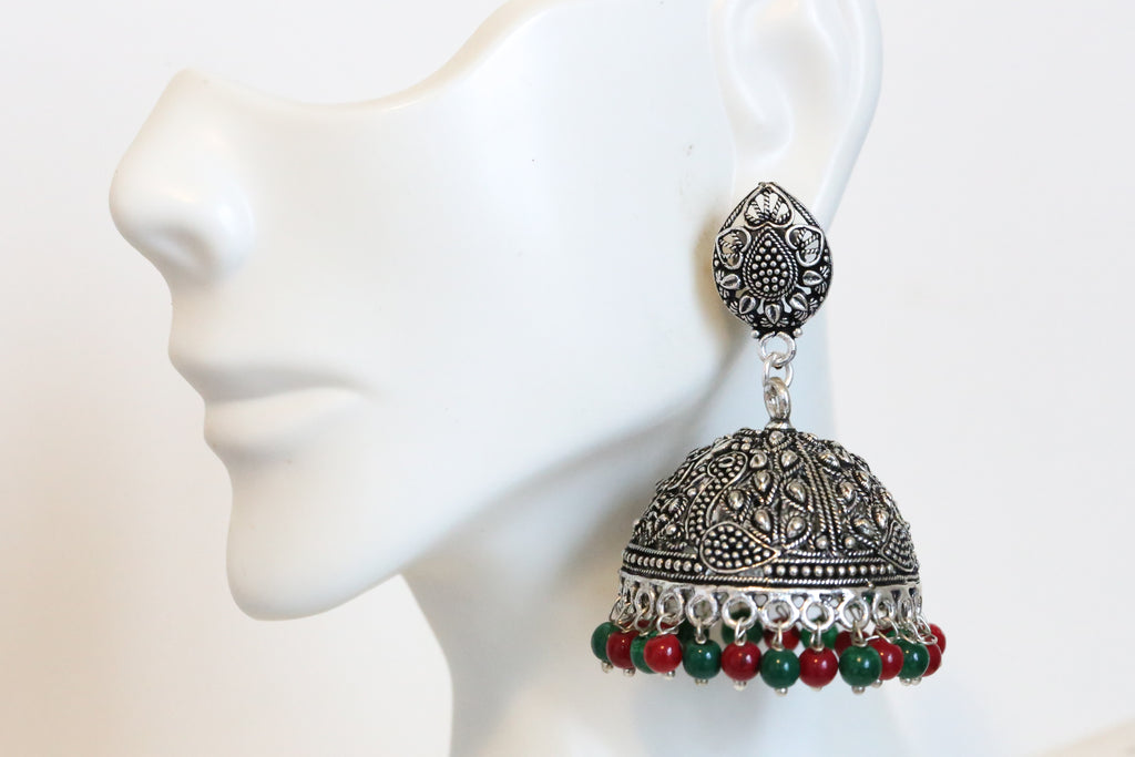 Green Red Jhumka
