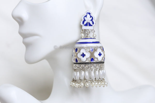 Large Blue White Enamel Jhumka