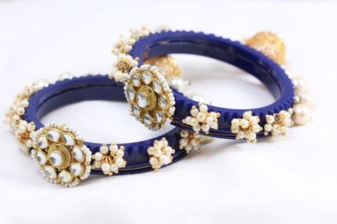 Blue Kundan Jhumka Bangle Set
