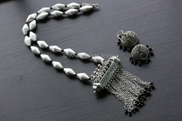 Oxidized Dholki Tabeez Necklace Set - Black
