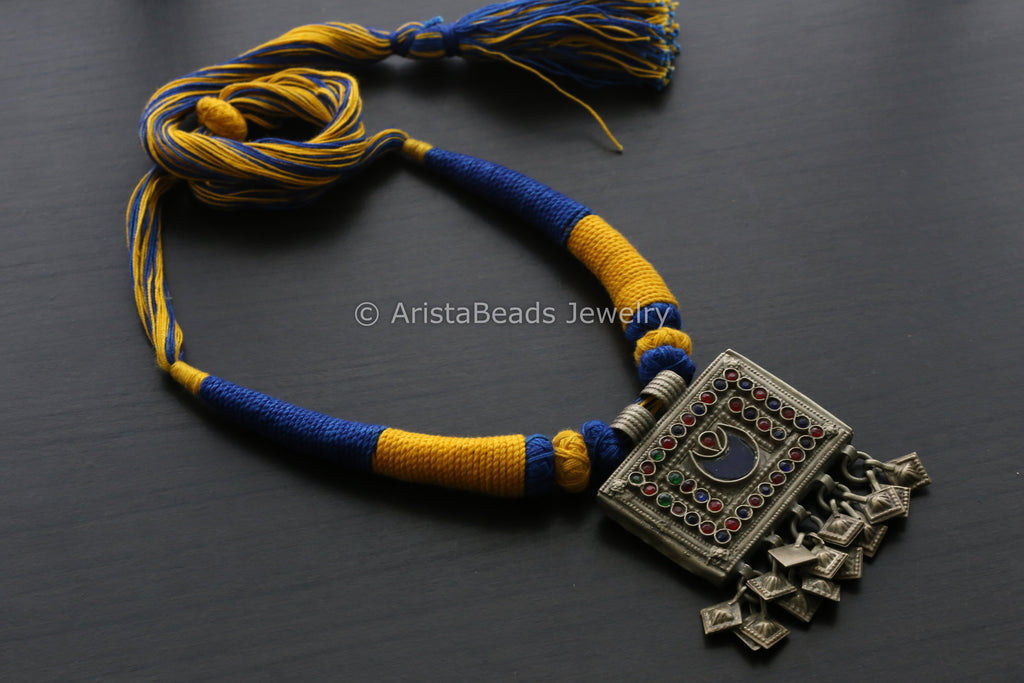 fc2f2ffca23 Vintage Afghan Pendant - Blue Yellow Tassel – AristaBeads Jewelry