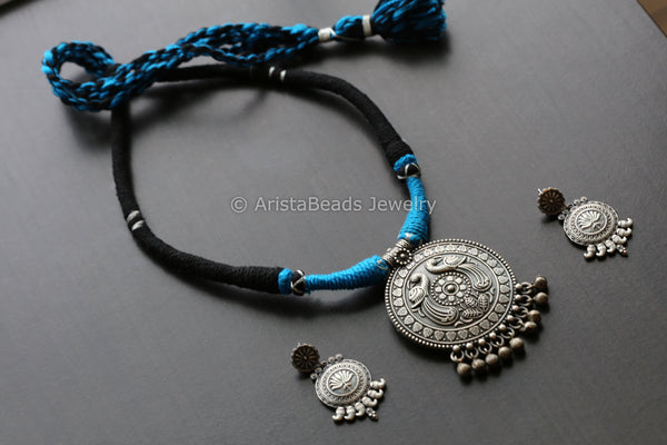 Tribal Blue & Black Thread Necklace