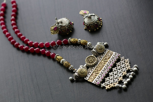 Oxidized Dual Tone Ruby Necklace