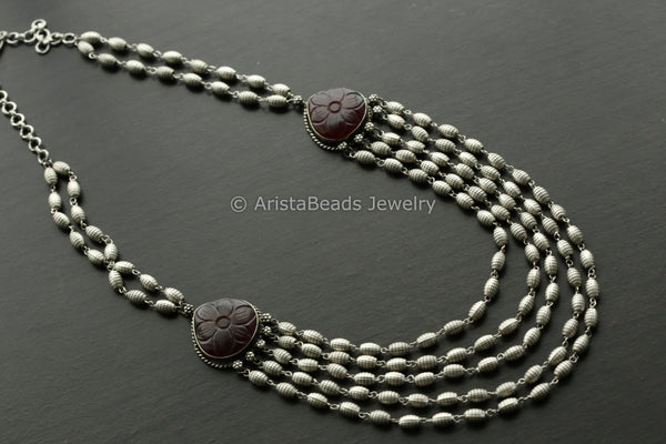 Dark Red Carved Stone Layered Necklace