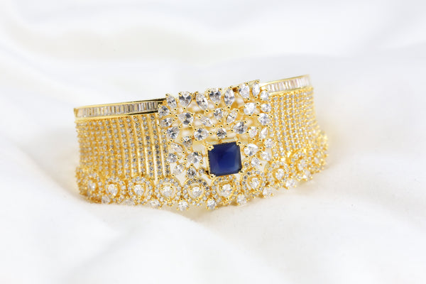 Blue CZ Bangle Bracelet