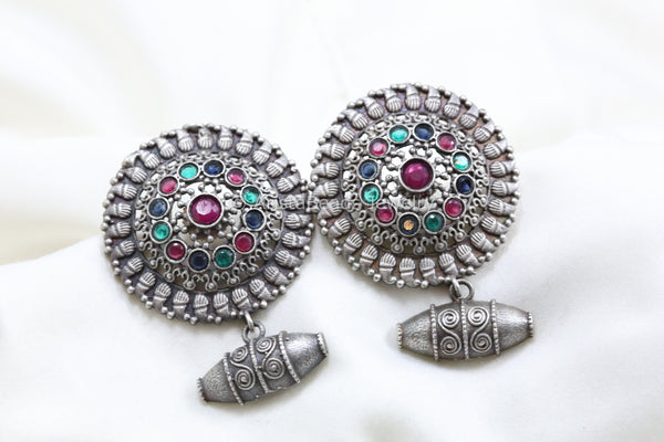 Large Stud With Bead Drops - Multicolor