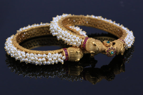 Elephant Pearl Bangle Set