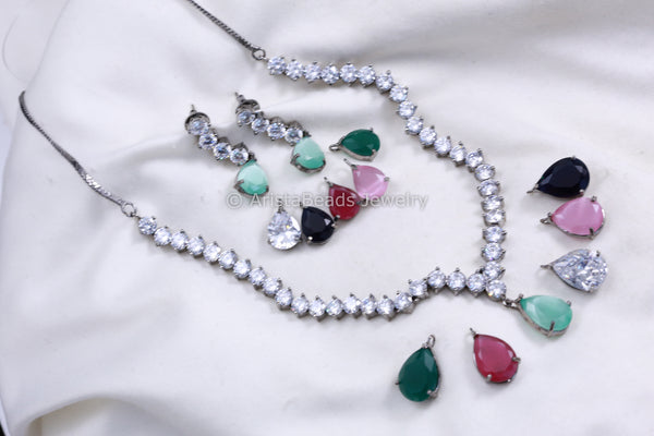 High Quality Interchangeable CZ Necklace Set