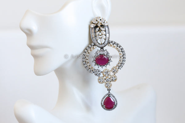 Designer Ruby CZ Earrings