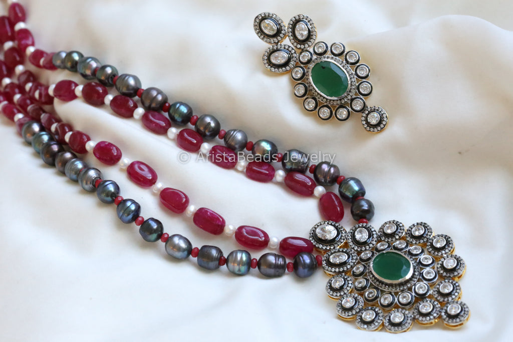 Contemporary Ruby & Pearl  Necklace