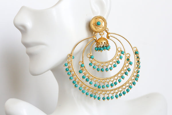 Matt Gold Turquoise Earrings