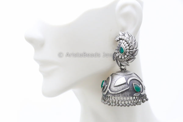 Large Emerald Silver Plated Jhumka
