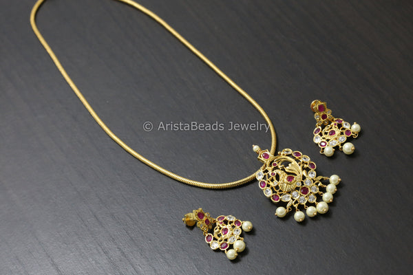 Ruby Uncut Chain Necklace Set